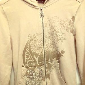 BCBG zip-up graphic hoodie